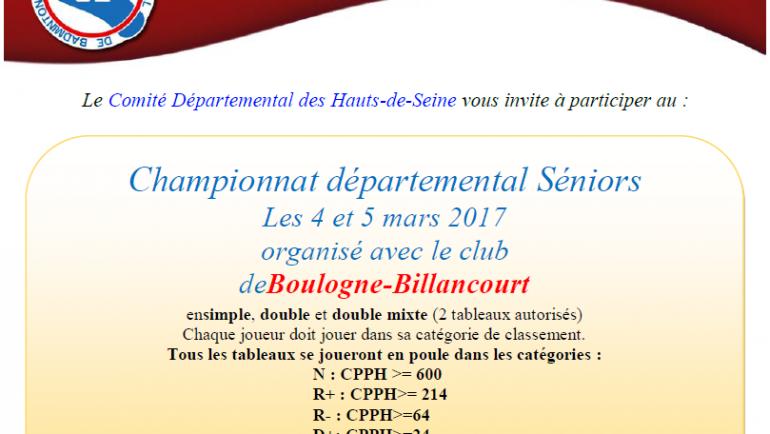 Championnat Départemental Sénior 92 – 4/5 Mars 2017