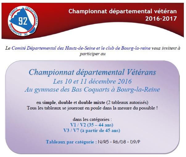 10 et 11 Décembre 2016 : Championnat Départemental Vétéran – Créneaux gymnase faïencerie